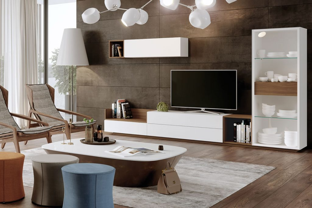 Salón con tonos madera