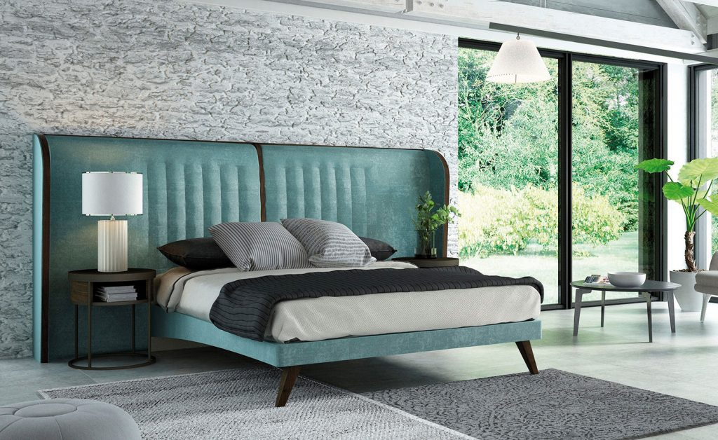 Dormitorio con toques azulados