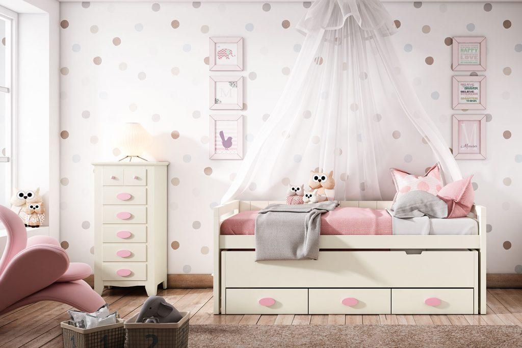 Dormitorio con pinceladas rosas